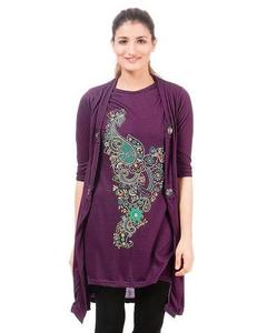 Royal Collection - Polyester & Viscose Shrug for Women - RCPA-TunicShrug-Pr - PurpleHurry up! Sales Ends in