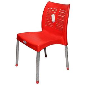 Plastic Res Relaxo Chair With Steel Legs - RedHurry up! Sales Ends in