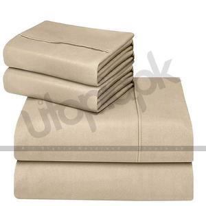 Soft Brushed Microfiber Wrinkle Fade & Stain Resistant Bed Sheet Set - 4 Piece - Full Size - BeigeHurry up! Sales Ends in
