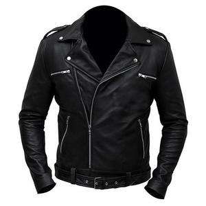 Premium Faux Leather Regular Fit Jacket Negan Biker Class Men - BlackHurry up! Sales Ends in