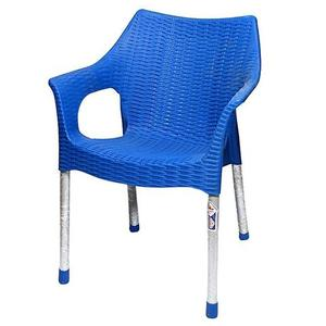 Rattan Plastic Chair With Steel Legs - BlueHurry up! Sales Ends in