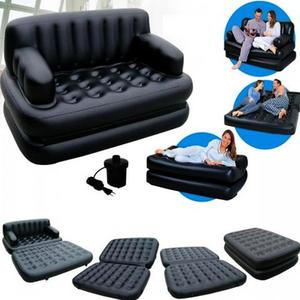Bestway 5 In 1 Leather Sofa Cum Bed With Air Pump & Carry Bag - BlackHurry up! Sales Ends in