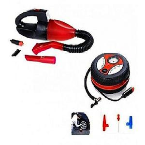 Pack of 2 - Car Vacuum Cleaner & Car Air Compressor Pump - RedHurry up! Sales Ends in