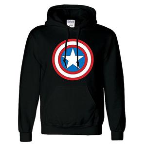 Onshoponline - Cotton Printed Captain America Hoodie For Men - BlackHurry up! Sales Ends in
