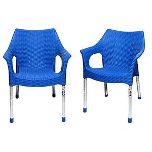 Rattan Plastic Chair With Steel Legs Set of 2 - BlueHurry up! Sales Ends in