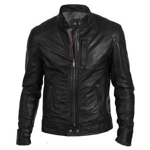 Premium Faux Leather Regular Fit Racer Jacket Biker Hunt Men - BlackHurry up! Sales Ends in