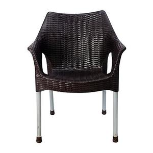Rattan Plastic Chair With Steel Legs - BrownHurry up! Sales Ends in