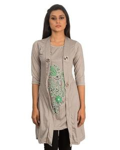 Royal Collection - Polyester & Viscose Shrug for Women - RCPA-TunicShrug-GRY - GreyHurry up! Sales Ends in