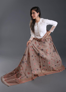 Sanaulla Exclusive Range Embroidered Pashmina Shawl 166 - Kashmiri Shawls