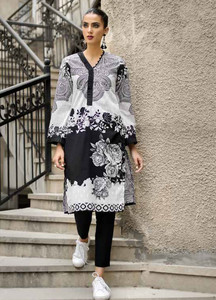 Gul Ahmed Embroidered Lawn Unstitched Kurties GA18BW SB-11 - Black & White Collection