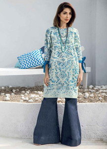 Al Karam Printed Lawn Unstitched Kurties AK19L SS-68-19 Green - Spring / Summer Collection