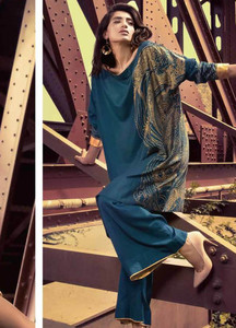 Al Karam Printed Viscose Unstitched Kurties AK18W FW 03 NAVY - Winter Fashion