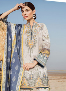 Baroque Embroidered Khaddar Unstitched 3 Piece Suit BQ18K 3 Radiant Frost - Luxury Collection