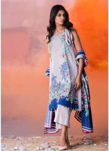 Al Karam Printed Lawn Unstitched 2 Piece Suit AK18L SS-73 BLUE - Spring / Summer Collection