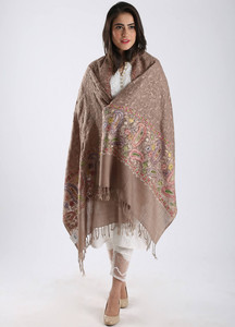 Sanaulla Exclusive Range Embroidered Pashmina Shawl 88 - Kashmiri Shawls