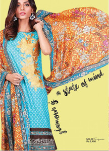Al Karam Embroidered Cotton Unstitched 2 Piece Suit AK17E 29 Blue