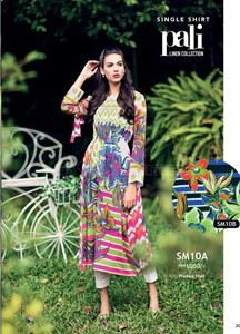 Gul Ahmed Embroidered Linen Unstitched Kurtis Suit GL17W SM10A