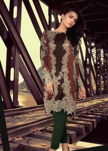 Al Karam Printed Viscose Unstitched Kurties AK18W FW 01 MAROON - Winter Fashion