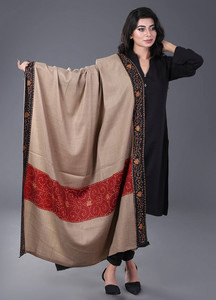 Sanaulla Exclusive Range Pashmina Embroidered Shawl 344 - Kashmiri Shawls
