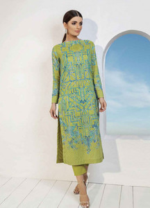 Al Karam Printed Lawn Unstitched 2 Piece Suit AK19L SS-55-19 Green - Spring / Summer Collection