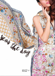 Al Karam Embroidered Cotton Unstitched 2 Piece Suit AK17E 27 Beige