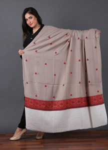 Sanaulla Exclusive Range Pashmina Embroidered Shawl 528 - Kashmiri Shawls