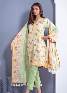 Orient Textile Printed Linen Unstitched 3 Piece Suit OT18W 257A Ocean Wave - Winter Collection
