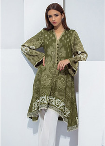 Orient Textile Embroidered Linen Unstitched Kurties OT18W 231A Earthy - Winter Collection