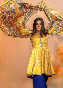 Al Karam Printed Lawn Unstitched 2 Piece Suit AK18L SS-69 YELLOW - Spring / Summer Collection