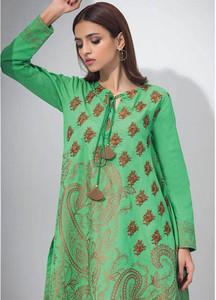 Orient Textile Embroidered Karandi Unstitched Kurties OT18W 234A Paisley Charm - Winter Collection