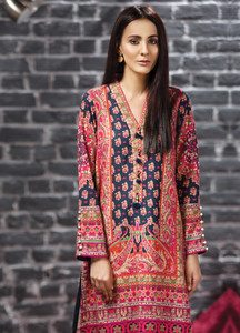 2fb6d645cb2a LimeLight Printed Khaddar Unstitched Kurties LL18-W2 554 Pink - Winter  Collection