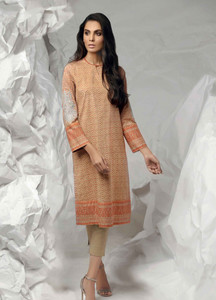 Al Karam Embroidered Lawn Unstitched Kurties AK19L SS-63.1-19 Mustard - Spring / Summer Collection