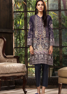 693ed0cde50 LimeLight Printed Khaddar Unstitched Kurties LL18-W3 510 Plum - Winter  Collection