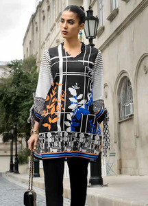 Gul Ahmed Embroidered Lawn Unstitched Kurties GA18BW SB-10 - Black & White Collection