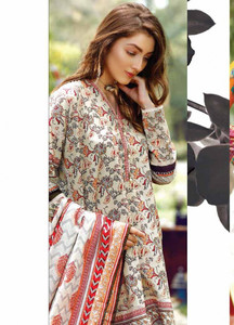 Al Karam Embroidered Cotton Unstitched 2 Piece Suit AK17E 33 Grey