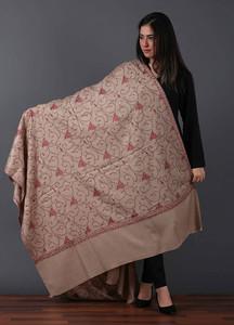 Sanaulla Exclusive Range Pashmina Embroidered Shawl 523 - Kashmiri Shawls