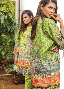 Al Karam Embroidered Cotton Unstitched 1 Piece Suit AK17E 43 Olive