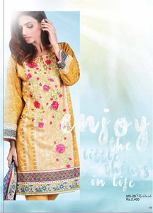 Al Karam Embroidered Cotton Unstitched 2 Piece Suit AK17E 28 Mustard