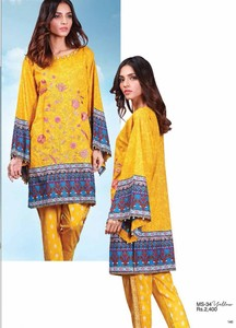 Al Karam Embroidered Cotton Unstitched 2 Piece Suit AK17E 34 Yellow