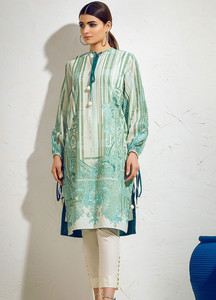 Al Karam Printed Lawn Unstitched 2 Piece Suit AK19L SS-57-19 Green - Spring / Summer Collection