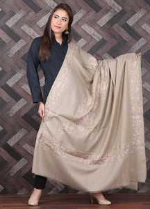Sanaulla Exclusive Range Pashmina Embroidered Shawl 699 - Kashmiri Shawls