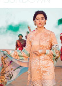 Cross Stitch Embroidered Lawn Unstitched 3 Piece Suit CS18L CROSSAGE CARVAN - Spring / Summer Collection