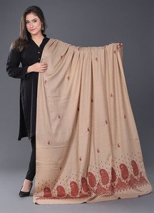 Sanaulla Exclusive Range Pashmina Embroidered Shawl 388 - Kashmiri Shawls