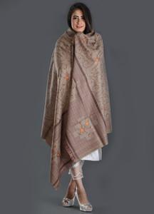 Sanaulla Exclusive Range Embroidered Pashmina Shawl 173 - Kashmiri Shawls