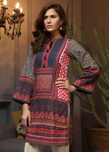 eb0b983b814a LimeLight Printed Khaddar Unstitched Kurties LL18W 471 Blue - Winter  Collection
