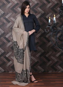 Sanaulla Exclusive Range Embroidered Pashmina Shawl 714 - Kashmiri Shawls