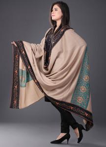 Sanaulla Exclusive Range Embroidered Pashmina Shawl 215 - Kashmiri Shawls