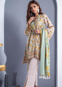 Orient Textile Printed Linen Unstitched 3 Piece Suit OT18W 262A Portrait Red - Winter Collection