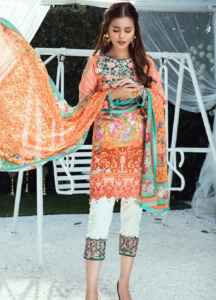 Gulaal Embroidered Lawn Unstitched 3 Piece Suit GL18L 10 - Spring / Summer Collection