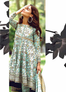 Al Karam Embroidered Cotton Unstitched 2 Piece Suit AK17E 33 Green
